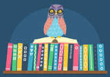Owl sitting on open book on books shelf. Hand drawn vector illustration.