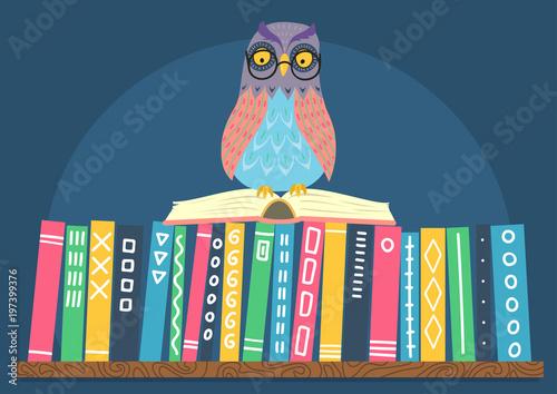 Fotobehang Uilen cartoon Owl sitting on open book on books shelf. Hand drawn vector illustration.