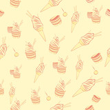 Seamless ice cream pattern on light yellow background with cherrys