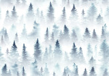 Fototapeta Las - Seamless pattern of watercolor spruce forest in the fog. © Julia Tochilina