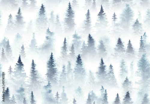 bezszwowy-wzor-akwarela-swierkowy-las-w-mgle