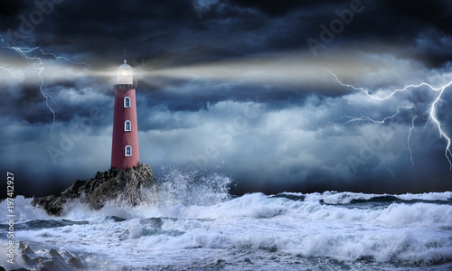 Aluminium Vuurtoren Lighthouse In Stormy Landscape - Leader And Vision Concept