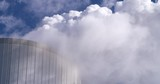 Steam being blown into the air at cooling tower belonging to coal-fired power plant Duisburg-Walsum, close up shot, Germany, 4K - 197414132