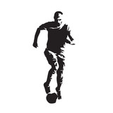 Soccer player running with ball, isolated vector silhouette, front view