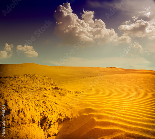 Foto op Canvas Beige Sunset over the Sahara Desert