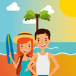 summer vacations happy couple in the beach with surf board vector illustration
