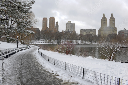 Central Park during middle of snowstorm with snow falling in New York City during Noreaster