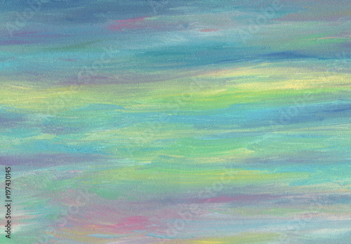 Sea sky evening gradient colors. Oil painting texture. Palette in blue, green and gray soft colors.