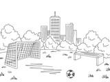 Street sport football soccer graphic black white city landscape sketch illustration vector - 197439911