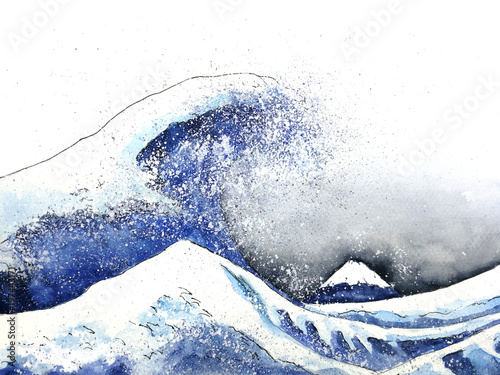 japanese great wave art. watercolor style.hand drawn © atichat