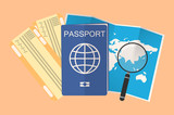 passport, plane tickets and open map with magnifying glass. composition with a holiday theme. - 197444783