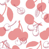 Cherry graphic berry pink color seamless pattern background sketch illustration vector - 197446525