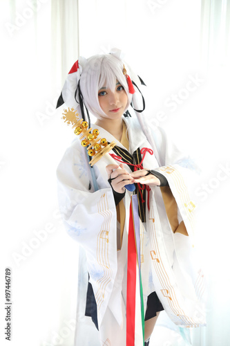 Japan anime cosplay in white tone room - 197446789