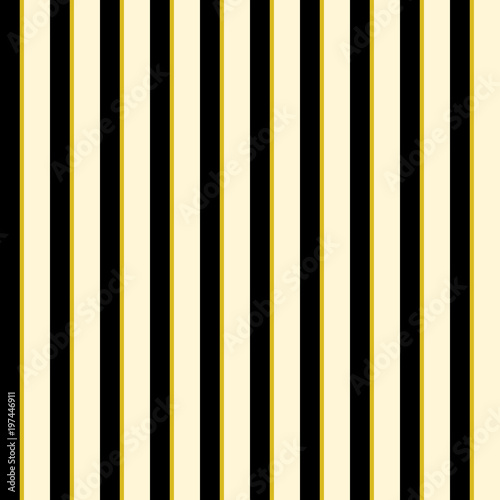 Materiał do szycia Abstract wallpaper with vertical black and golden lines. Seamless colored background. Geometric pattern