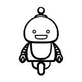 sketch of Cartoon little robot icon over white background, vector illustration