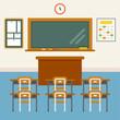 school empty class background vector flat design illustration set