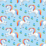 Fairy children seamless pattern with the image of cute unicorns. Colorful vector background in cartoon style.