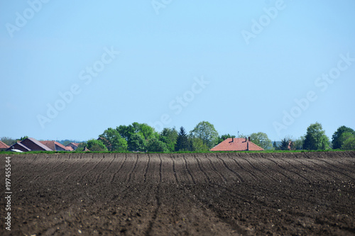 Background from an arable land and the sky