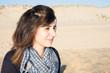 cheerful young woman on sand beach beauty girl