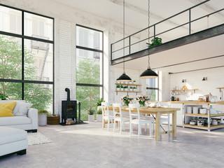 modern loft apartment. 3d rendering