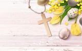 Beautiful easter golden eggs, yellow tulips, cross and mimosa branch  on pink shabby wooden background. Vector illustration