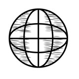 sketch of global sphere icon over white background, vector illustration - 197459534