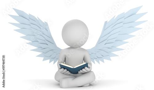 3d mężczyzna z anielskimi skrzydłami podczas czytania