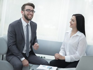 manager and customer talking in a modern office