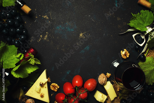 Red wine and snacks, Italian food, frame and copy space, top view - 197466988