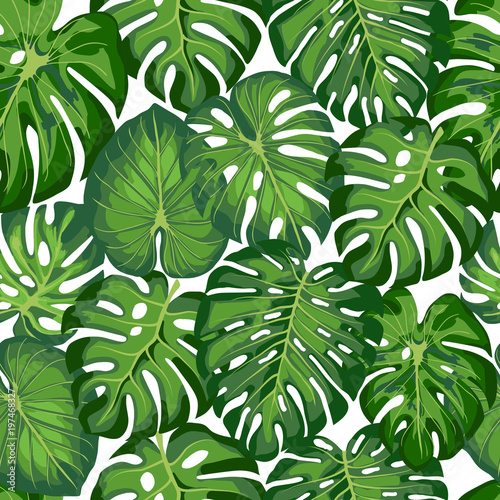 obraz lub plakat pattern with tropical leaves