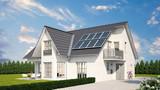Soloranlage oder Photovoltaik auf Einfamilienhaus - 197472521