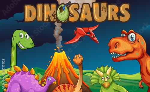 Fotobehang Kids Different types of dinosaurs at night
