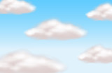 Background scene with clouds in blue sky