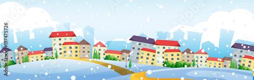 Fotobehang Kids Scene with houses in village in winter
