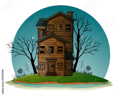 Fotobehang Groen blauw Haunted house on island