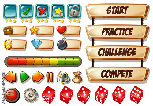 Fotobehang Kids Game elements with dices and other icons
