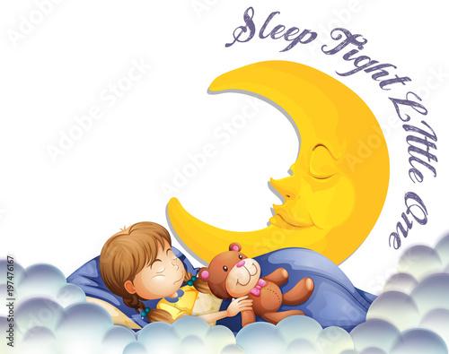 Fotobehang Kids Girl sleeping with teddybear