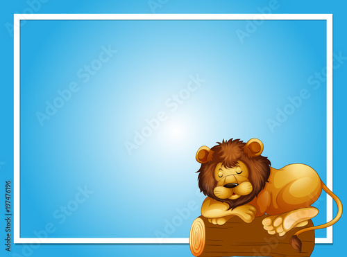 Fotobehang Kids Frame template with sleeping lion