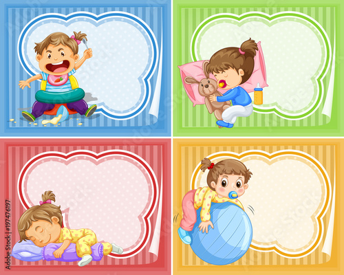 Fotobehang Kids Four designs of banner with babies