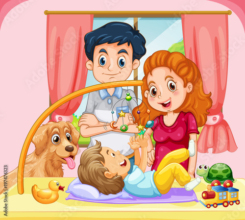Fotobehang Kids Family with little baby playing mobile toy