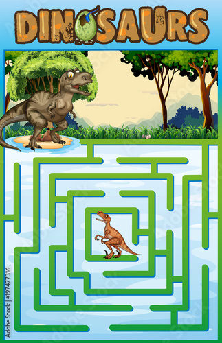 Fotobehang Pool Puzzle template with dinosaur theme