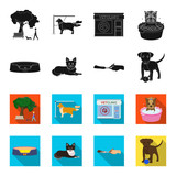Lounger for a pet, clipping of claws in a vet clinic, lying dog, puppy with a ball. Vet clinic and pet,dog care set collection icons in black,flet style vector symbol stock illustration web.