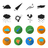 Rain, snow, heat, weathervane. The weather set collection icons in black,flet style vector symbol stock illustration web. - 197482165