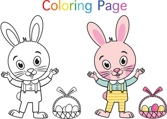 Cartoon Rabbit For Coloring Page Activity. (Vector illustration)