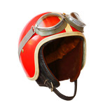 Retro helmet with goggles on a white background. Protective headwear for motorcycle and automobile race.  - 197493974