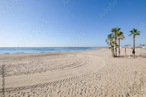 landscape Beach of Turret San Vicente or Sant Vicent, also named Torreon, in Benicassim, Castellon, Valencia, Spain, Europe. Lonely golden sand, palm trees, blue clear sky and Mediterranean Sea