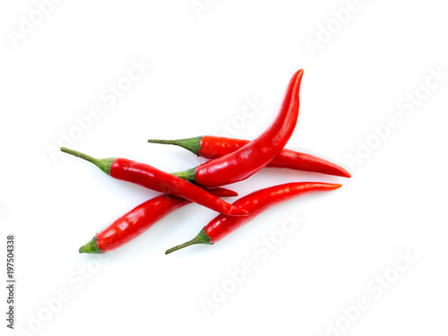 Aluminium Hot chili peppers Red hot chili pepper on white background, top view