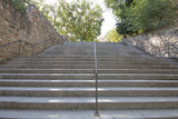 concrete stairs with metal balusters going up in Toledo city, Spain, Europe