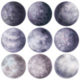 Set of Watercolor Moons in Violet Colors - 197517518