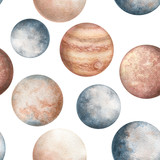Seamless Pattern of Watercolor Planets - 197517544